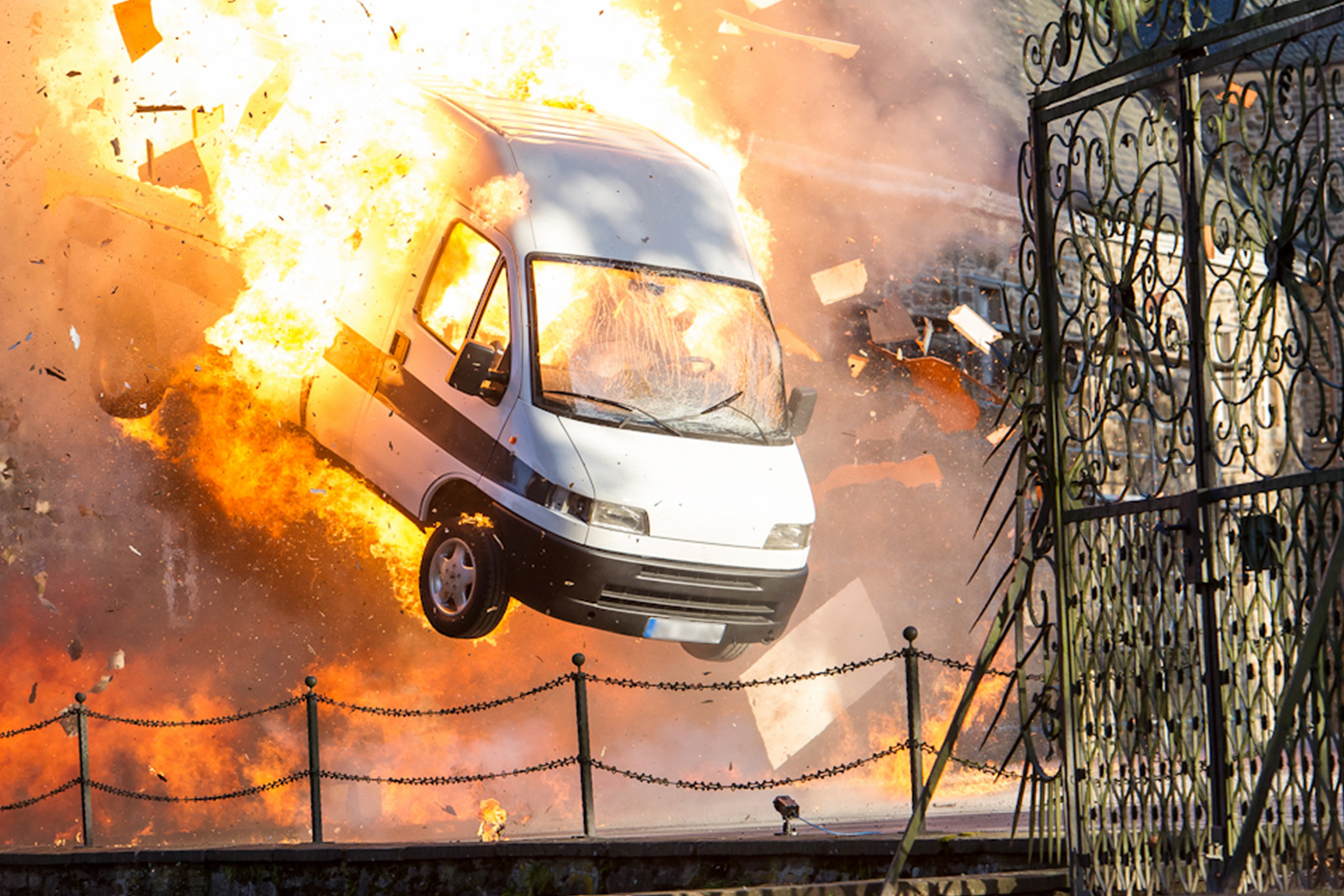 Film stunts with car at Castle Ehreshoven