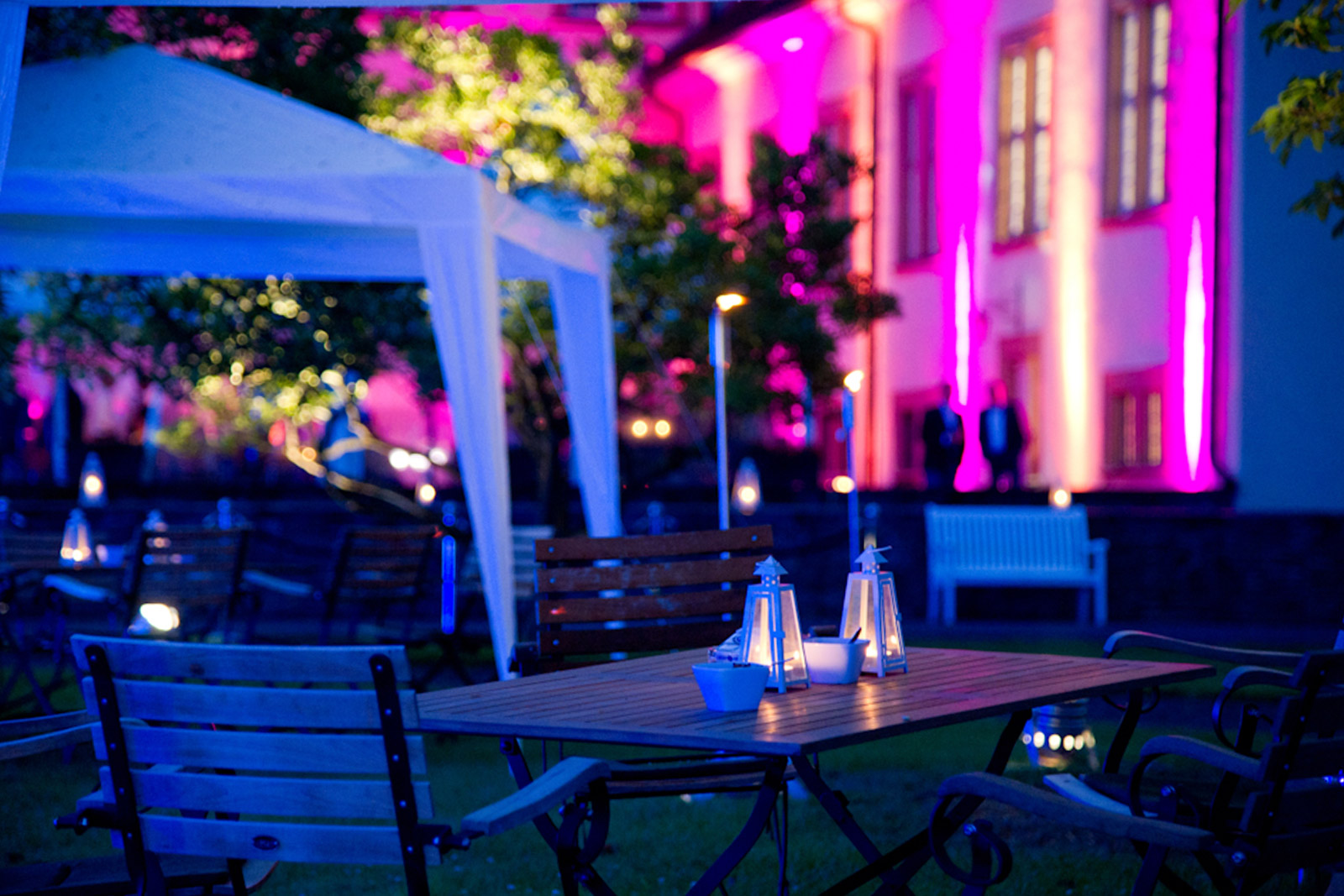 Outdoor Party tent with evening lighting for company parties