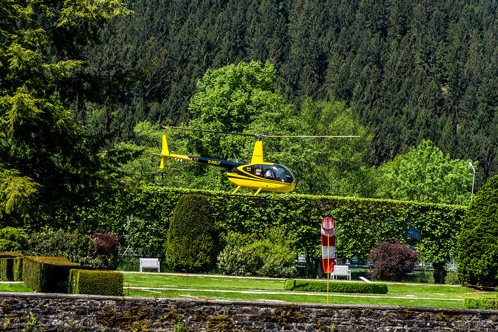 Helicopter in the castle park for wedding